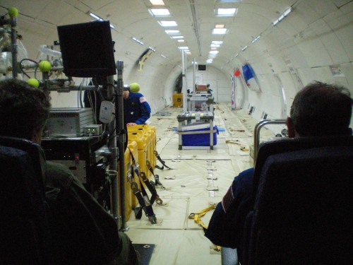 This is the interior of the plane before we took off and before everyone began working on their experiments.  It got very crowded.