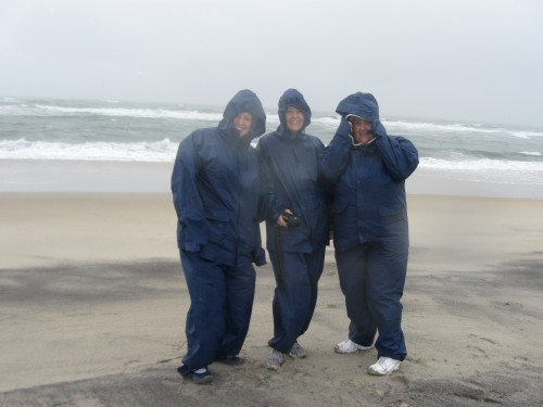Scientists wear special rain gear to work in a Nor' Easter!