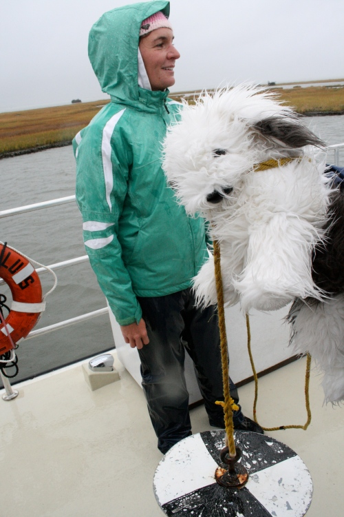 Fluffy the Science Dog gets ready to lower a sechi disk into the water to see how clear the ocean water is today. Marine biologist, Jamie, stands by to help.