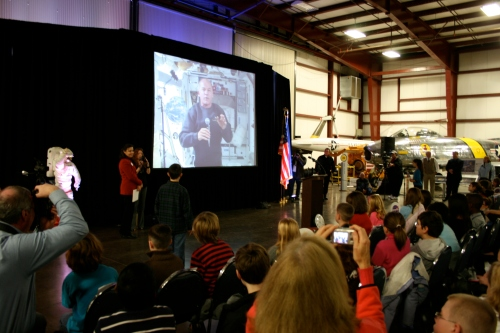 Students conduct videoconference with ISS commander