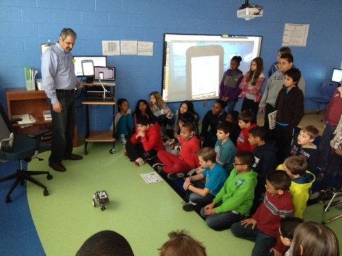 Our guest, Mr. Murphy, shows us how our code could control a robot!