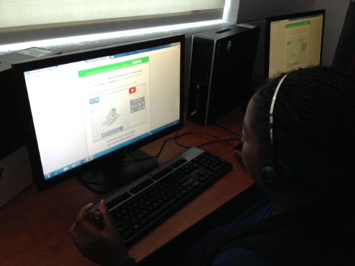 Students participating in the Hour of Code at Glastonbury E. Hartford Magnet School, Glastonbury, CT